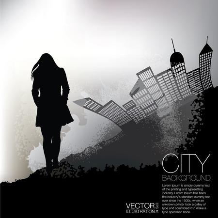 Woman and the City Grunge Background photo