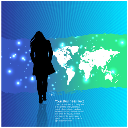 work worker workforce world: Woman on Abstract World Background Stock Photo