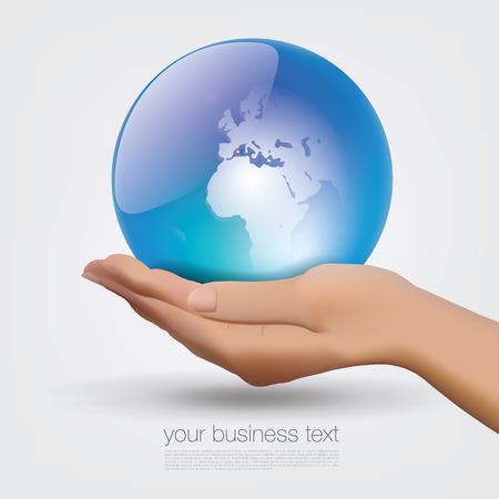 put forward: World Globe in Hand Stock Photo