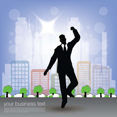 Businessman Jumping on City Background photo