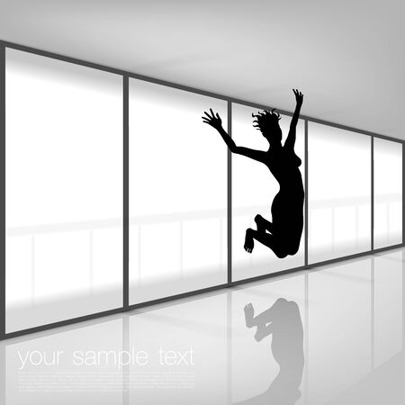 modern office interior: Woman Jumping in Modern Interior