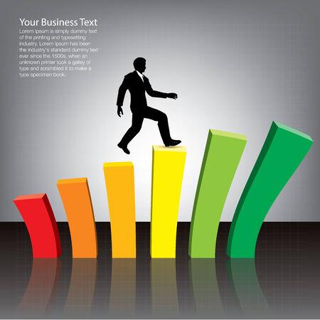 Businessman Jumping on Chart photo