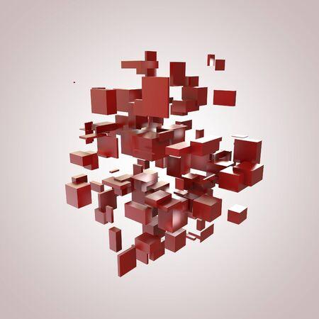 disorganization: 3D Red Blocks Hi-Tech Background