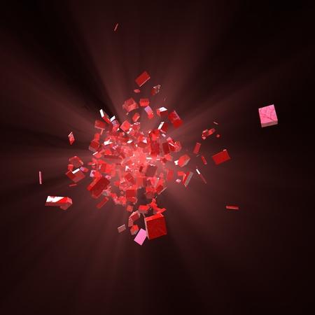 atomic center: 3D Explosion of Red Blocks