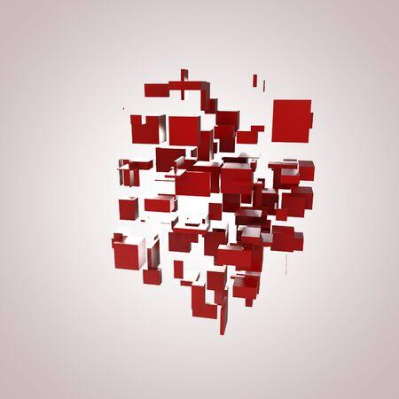 3D Red Blocks Hi-Tech Background photo