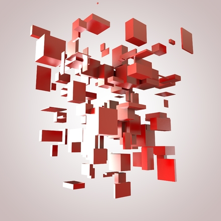 3D Red Blocks Hi-Tech Background photo