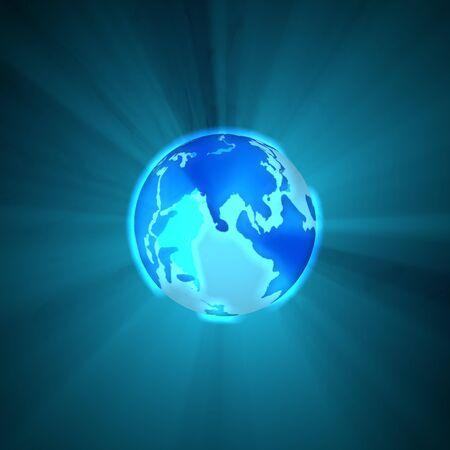 blue earth: Glowing Blue Earth Globe
