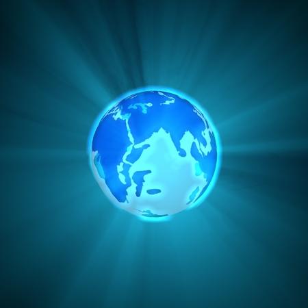 Glowing Blue Earth Globe photo