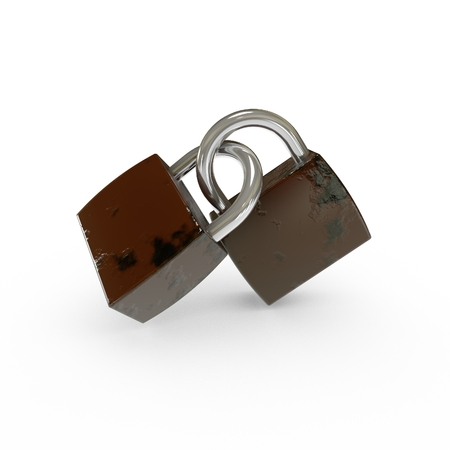 3D Old Padlocks Isolated photo