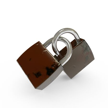 duet: 3D Old Padlocks Isolated Stock Photo