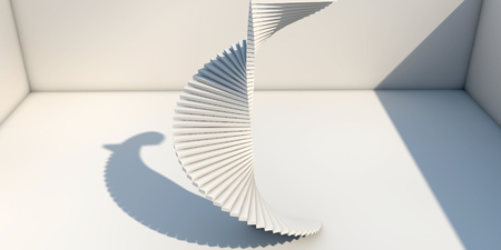 bended: Modern Interior With Bended Stairs Stock Photo