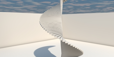 bended: 3D Illustration Of Modern Interior With Bended Stairs