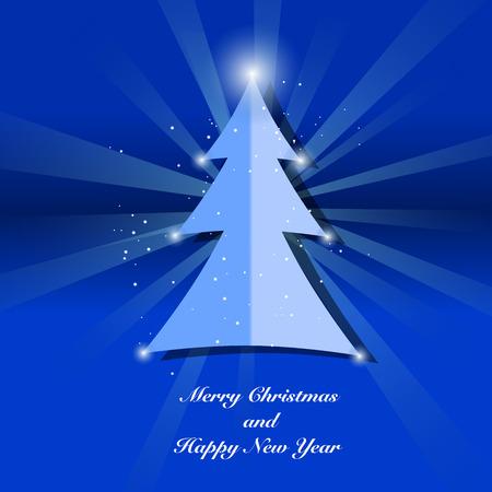 christmas blue: Christmas Tree On Blue Background