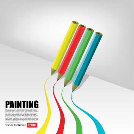 colour pencils: Drawing Crayons On White Illustration