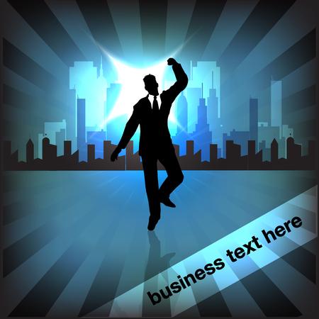 Businessman Victory Ilustração Vetorial