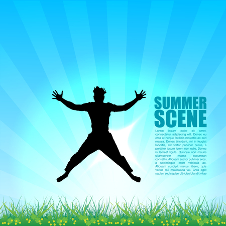Boy Jumping Over Meadow Illustration