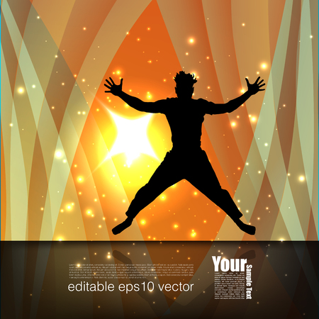 man jumping: Man Jumping On Abstract Background Illustration