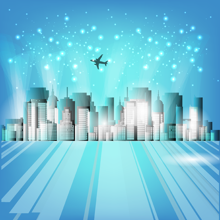 headquaters: City On Blue Background Illustration