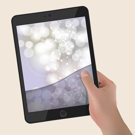 Hand holding tablet With Abstract Background. Ilustração