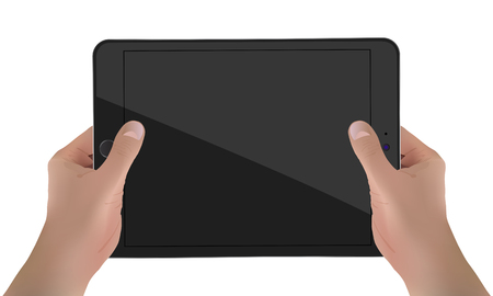 Hands Holding Device With Black Screen