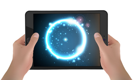 Tablet With Futuristic Background