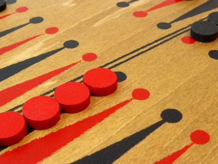 wooden backgammon game with red and black pieces Stok Fotoğraf