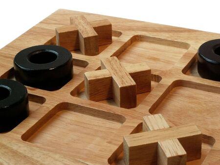 houten Tic Tac Toe spel met winnende resultaten
