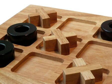 wooden tic tac toe game with winning results