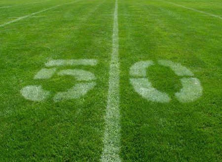 football fifty yard line Stock Photo