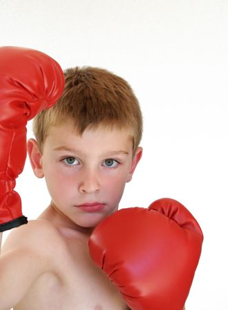 young boy ready to box Stock Photo