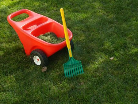clippings: childs rake and red wheelbarrow filled with grass clippings