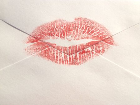 envelope sealed with a lipstick kiss Stock Photo