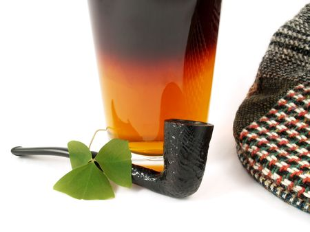 Irish St Patricks Day black and tan beer, pipe, shamrock and wool cap Stock Photo - 751450