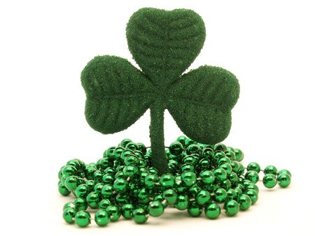 paddys: green glittery shamrock decoration with green bead necklace for St. Patricks Day
