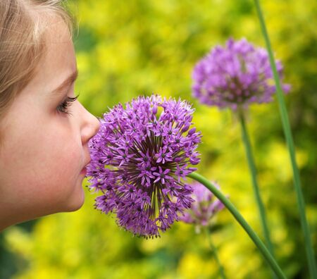 young girl smelling a purple allium (alliaceae) flower Stock Photo