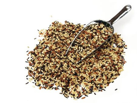 mixture: A metal scoop with brown and wild rice mixture