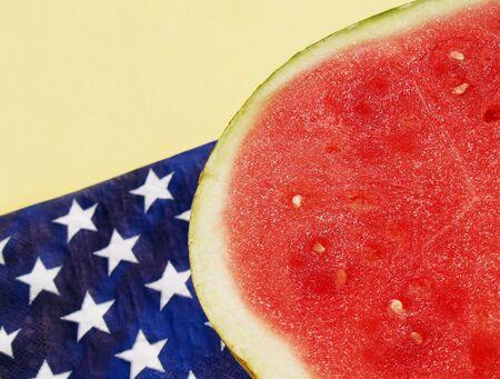 watermelon by a patriotic napkin   photo