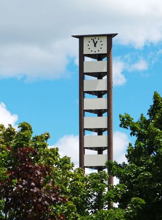clock tower that doubles as a cell phone tower Stok Fotoğraf