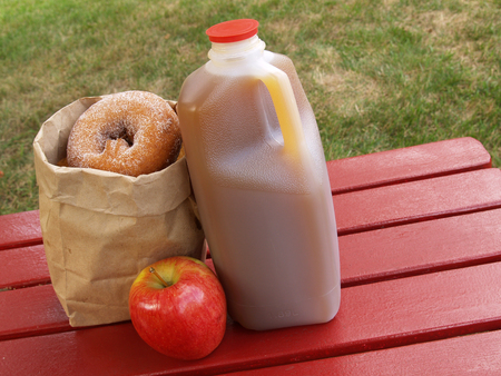 gallon: apple cider, an apple and a bag of cinnamon-sugared donuts on a red picnic table Stock Photo