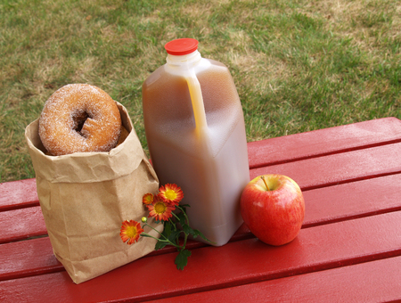 fall scene - apple cider, donuts and an apple       Stock Photo