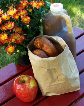 apple cider, a bag of donuts, an apple and a colorful mum