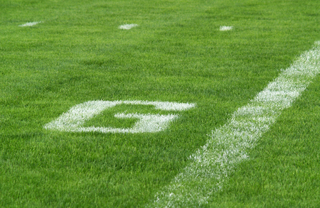 football goal line - G - painted on the turf