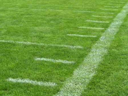 アメリカン フットボール フィールド上のヤード マーカー 写真素材