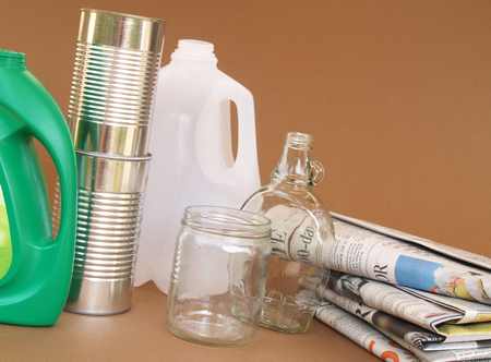 plastic, glass, aluminum and paper for recycling Stock Photo