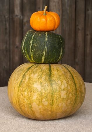 a stack of fall pumpkins and squashes