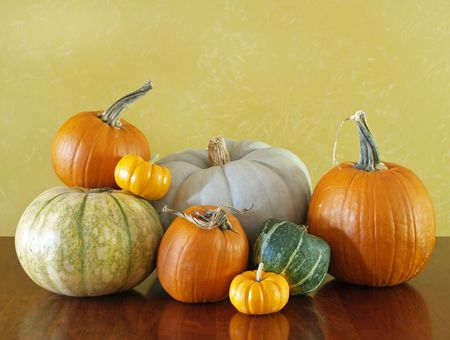 autumn - pumpkins and squashes for a Thanksgiving decoration Stock Photo