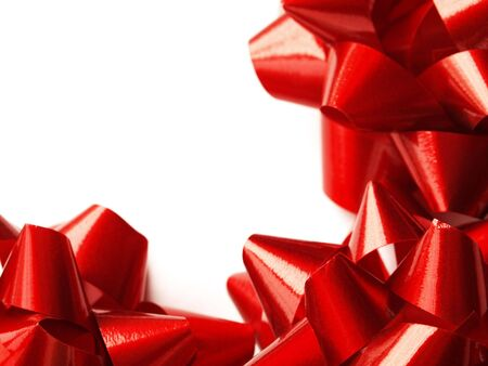 three red gift bows for Christmas or Valentines Day