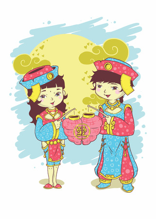 Cute Chinese couple with lantern for New Year celebration. 版權商用圖片 - 96901961