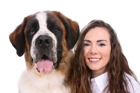 Side By Side portrait of a Saint Bernard and pretty owner.