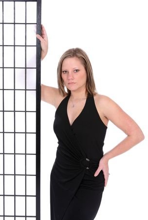 Attractive, sexy woman in black wrap dress. Stock Photo - 3067302